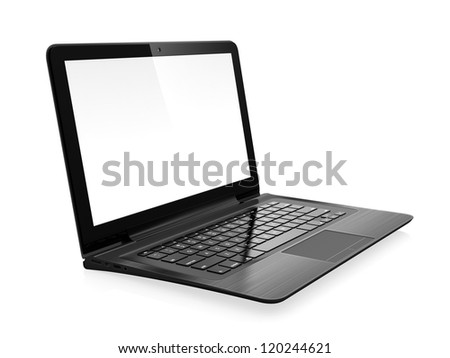 3D image of modern laptop with blank screen isolated on white - stock photo