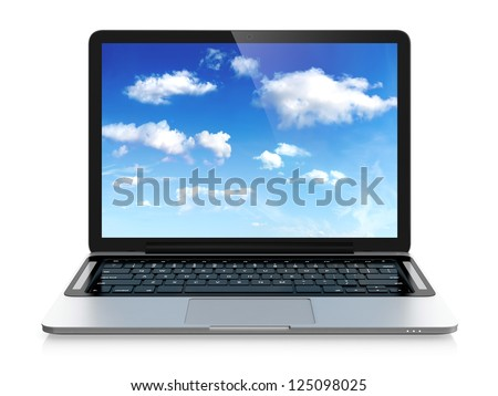3D image of modern laptop with cloudy sky image on screen. Cloud computing concept. - stock photo