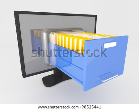 3d image of modern screen and file folder drawer - stock photo