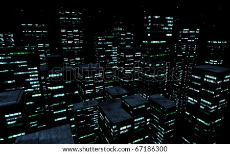 3d image of modern skyscrapers at night