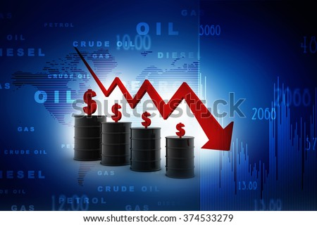 3d image of oil barrels with graph falling - stock photo