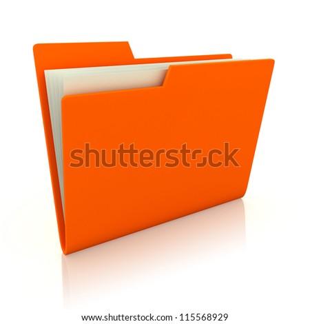 3d image of orange file folder - stock photo