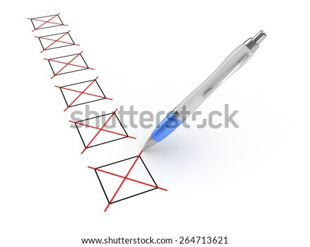 3D image of pen and checkboxes on white background. - stock photo
