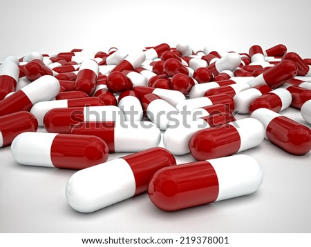 3d image of pills medicine on white background