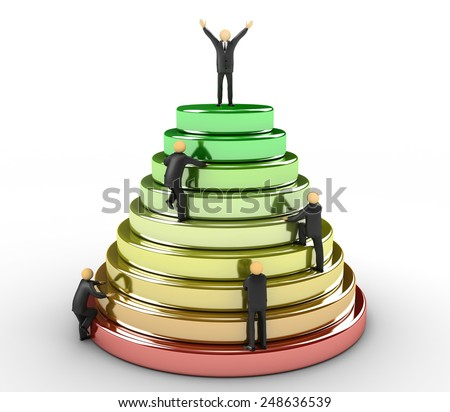 3D image of pyramid which represents the path to success - stock photo