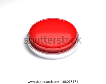 3d image of red button. White background.