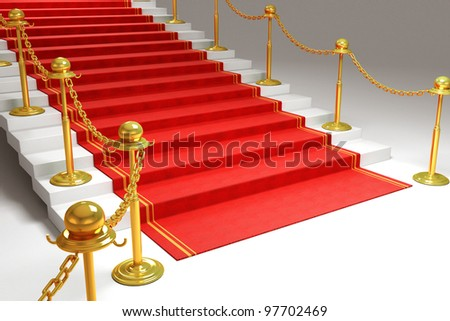 3d image of red carpet on stairs - stock photo