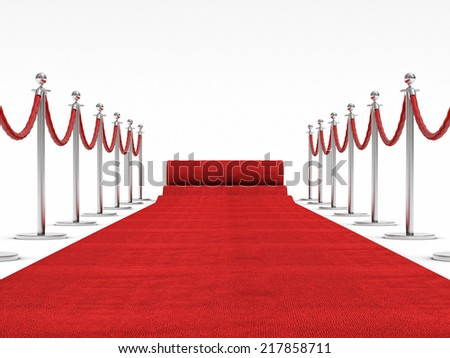 3d image of red carpet on white  - stock photo