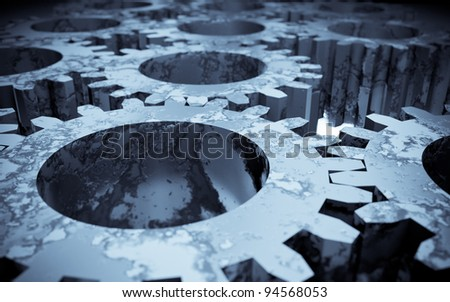 3d image of rusted gears