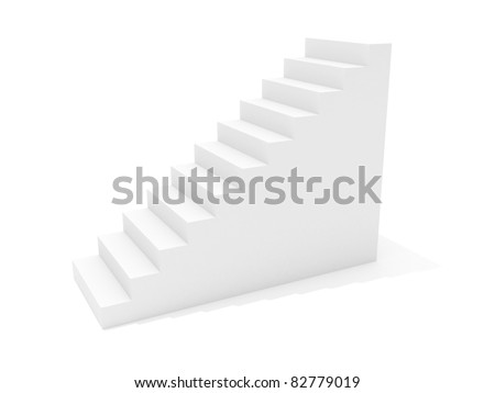 3D image of stairway isolated on white - stock photo