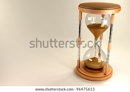 3d image of stand flowing in hourglass against abstract background - stock photo