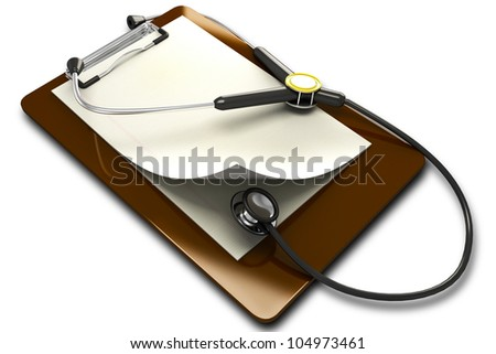 3d image of stethoscope on clipboard against white background - stock photo