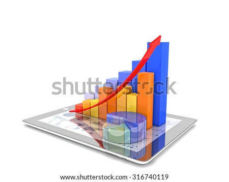 3d image of tablet and financial chart