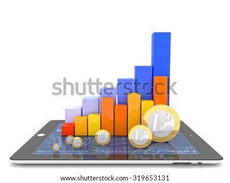3d image of tablet money and financial chart - stock photo