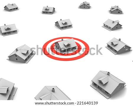 3D image of targeting house. - stock photo