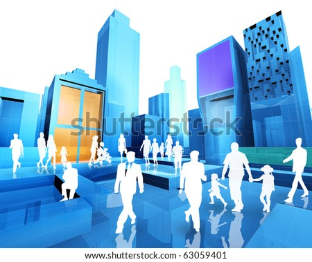 3D image of the city and people - stock photo