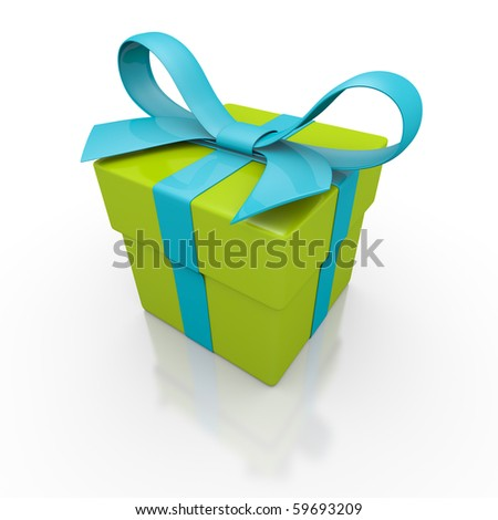 3d image of the gift box - stock photo