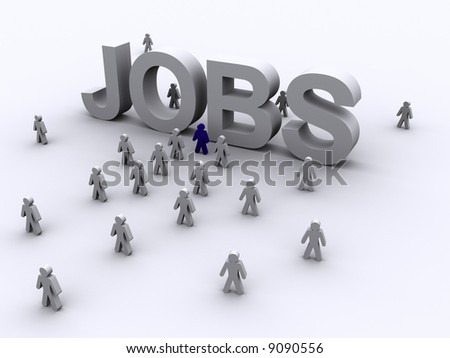 3D image of the word jobs with lots of people rushing towards to word indicating competition and interest in a new work.