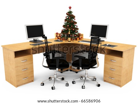 3D image of the working office space for two. On the table is decorated Christmas tree with gifts. The champagne and two glasses. - stock photo