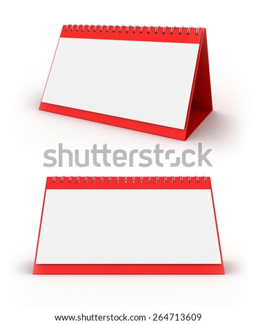3D image of two calendars on white background. - stock photo