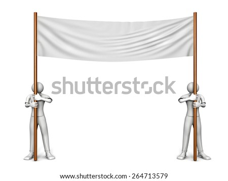 3D image of two men with blank banner on white - stock photo