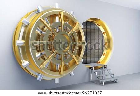 3d image of vault with golden door - stock photo