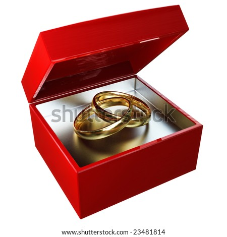 3d image of wedding ring in a red box background - stock photo
