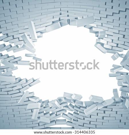 3d image of white broken brick wall - stock photo
