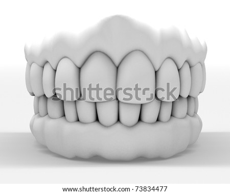 3d image of white teeth isolated on white - stock photo