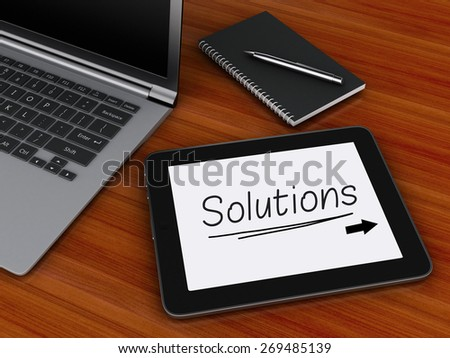3d image. Office workplace with digital tablet and  laptop pc. Business concept. - stock photo