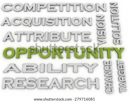 3d image Opportunity issues concept word cloud background - stock photo