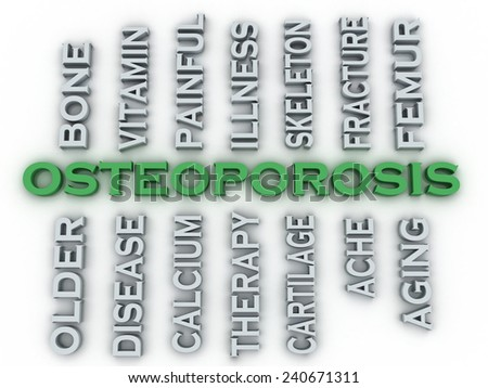 3d image Osteoporosis issues concept word cloud background - stock photo