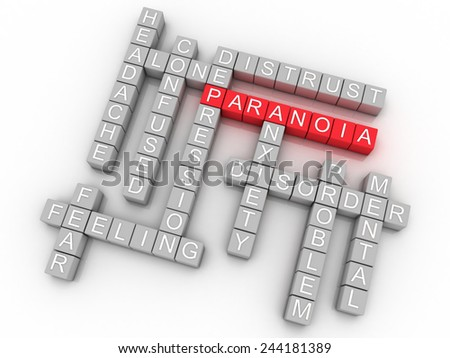 3d image Paranoia issues concept word cloud background - stock photo