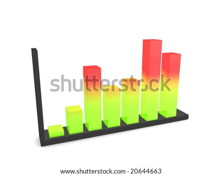 3d image, performance graph, average - stock photo