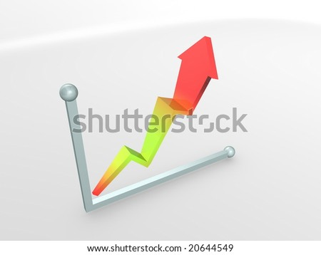3d image, performance graph, rise - stock photo