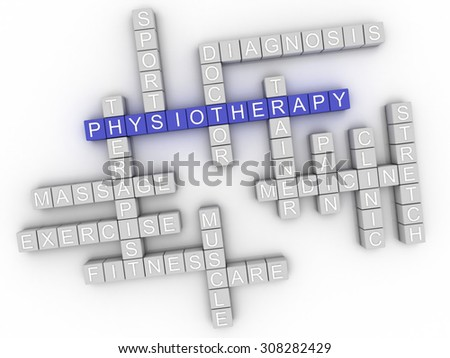 3d image Physiotherapy word cloud concept - stock photo