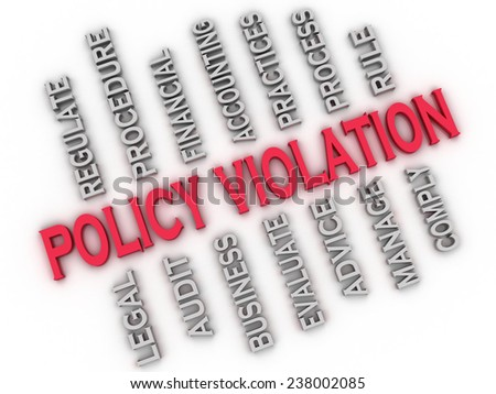 3d image Policy Violation issues concept word cloud background - stock photo
