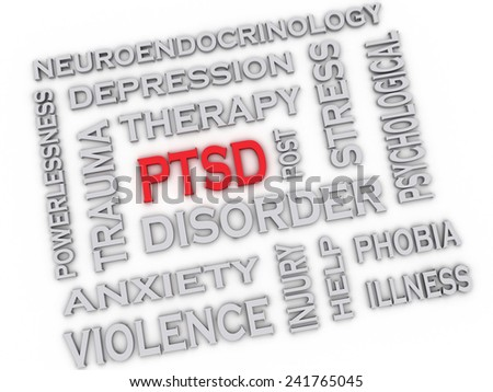 3d image PTSD - Posttraumatic Stress Disorder issues concept word cloud background - stock photo
