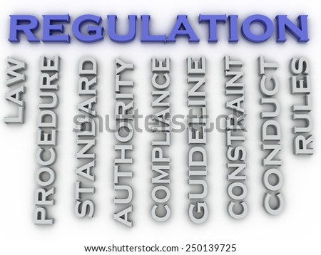 3d image Regulation issues concept word cloud background - stock photo