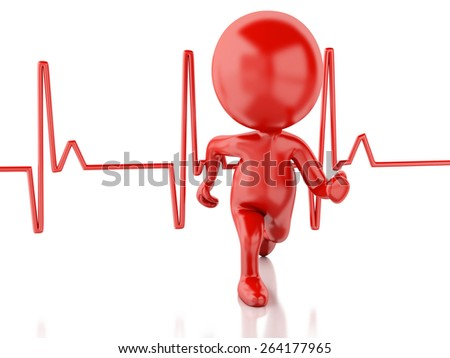 3d image. Running people with heartbeat. Medical concept. White background - stock photo
