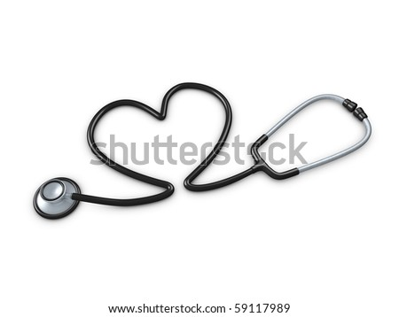 3d image, stethoscope with heart shaped tube. isolated over white background - stock photo