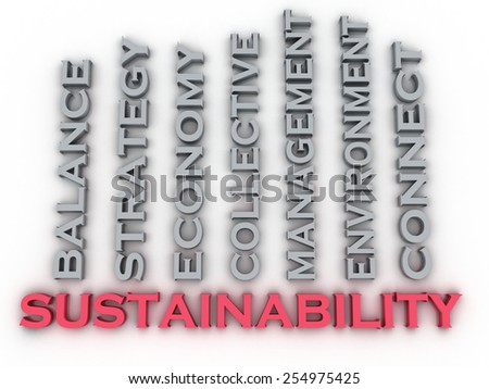 3d image Sustainability  issues concept word cloud background - stock photo