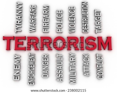 3d image Terrorism issues concept word cloud background - stock photo