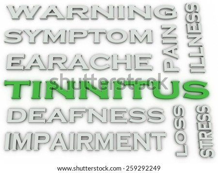 3d image Tinnitus  issues concept word cloud background - stock photo
