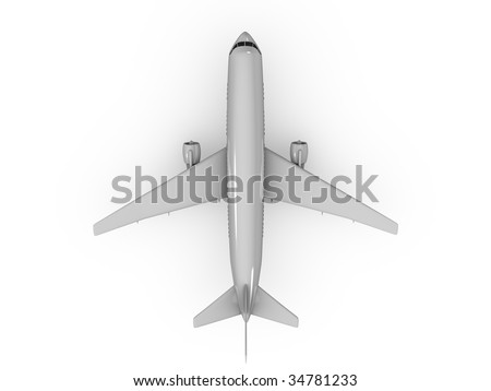 3d image, top view Airplane over white background - stock photo