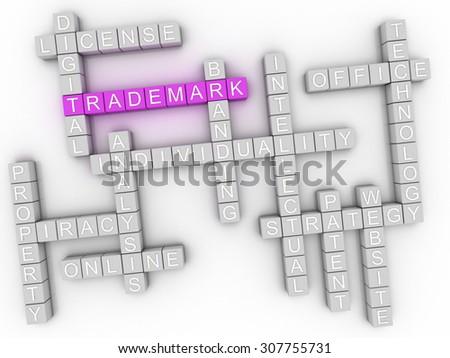 3d image Trademark word cloud concept - stock photo