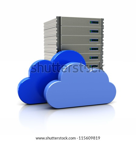 3d image, virtual bank with blue clouds - stock photo