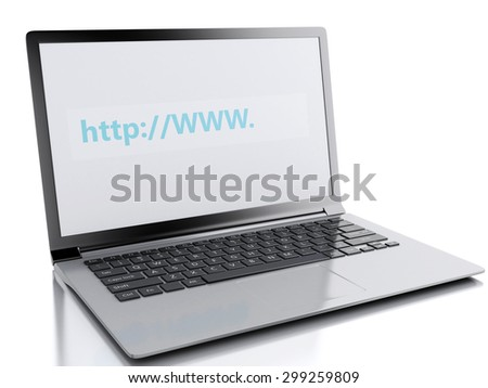 3d image. Web search on laptop pc. Internet concept. Isolated white background - stock photo