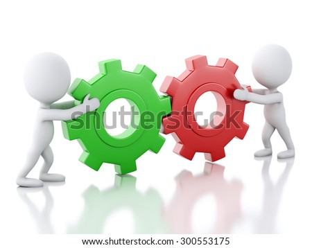 3d image. White business people with a gear mechanism. Business concept. Isolated white background