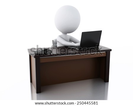 3d image. White business people working at office. Isolated white background - stock photo